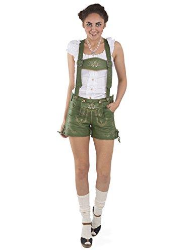 Damen Lederhose Alpengrün kurz - Trachtenlederhose Oktoberfest Vintage Lederhose Büffelleder (36, grün)