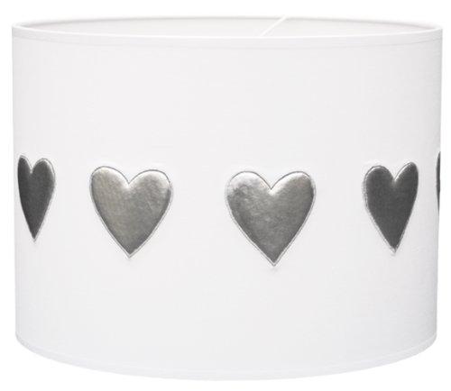 Taftan - Pantalla para lámpara de techo colgante (35 cm de diámetro), diseño de corazones plateados, color blanco