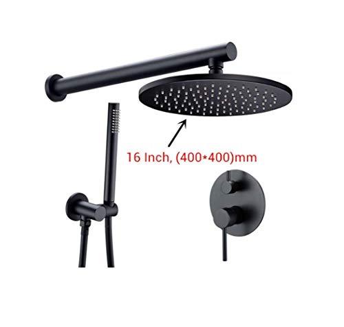 WANNA.ME Duscharmatur-Set aus Messing schwarz mit Duschkopf oder Dusche mit Brausearm und Mischbatterie für Dusche, 8-16 Zoll D - 2 Gpm Flow Control