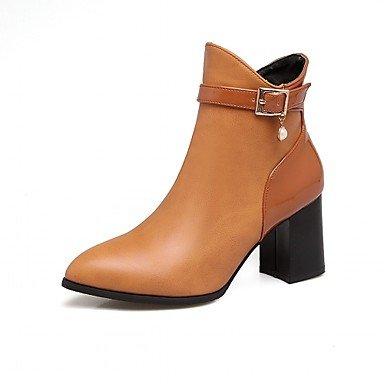 Rtry Women's Leatherette Chaussures Hiver Printemps Mode Bottes Bottes Bootie Chunky Perles Toe Booties / Zipper Cheville Bottes Pour Casual Bureau Et Us7.5 / Eu38 / Uk5.5 / Cn38