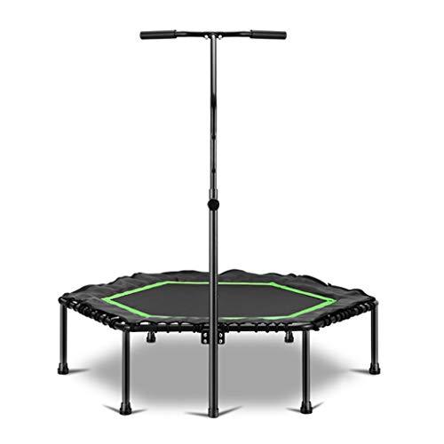XYWLYLHOME Indoor Trampolin kleines Sprungbett verstellbare Armlehne 49 Zoll geeignet für Erwachsene Kinder Maximalgewicht 150kg schwarz grün