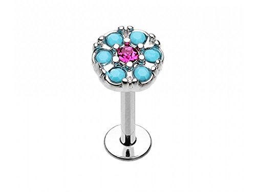 Turquoise and Fuchsia Round Crystal Helix Stud/Labret - 1.2mm - Pierced & Modified Body Jewellery