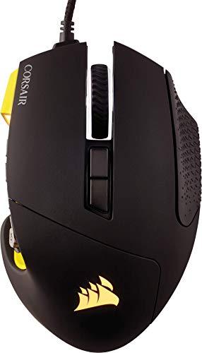 Corsair Scimitar PRO RGB Mouse Ottico da Gioco, RGB Retroilluminato, 16.000 DPI, MMO/MOBA, con Cavo, Rivestimento in gomma, Giallo