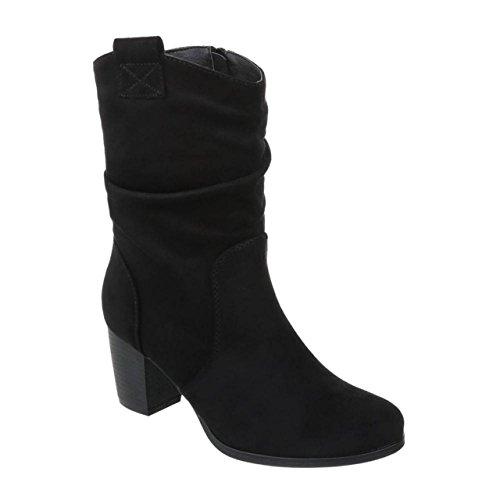 Damen Stiefeletten Cowboy Western Stiefel Boots Schlupfstiefel Schuhe 37 (39, Schwarz 66)