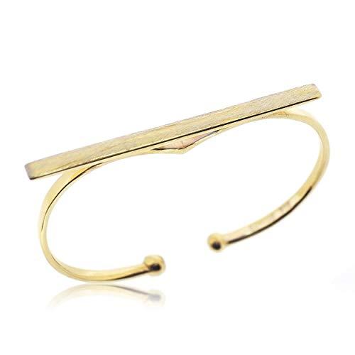 Sovats Damen Zwei Finger Band-Ring 925 Gold (Zwei-finger-doppel-ringe)
