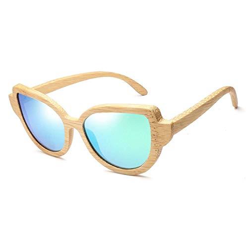 Mode Bambus Holz polarisiert, Frauen Katze Augen Stil Brille UV-Schutz polarisierte Brille (Farbe: grün)
