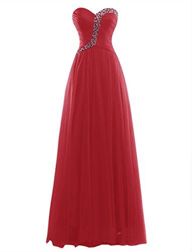 Dresstells Robe de cérémonie Robe de soirée forme empire bustier en cœur longueur ras du sol Rouge Foncé