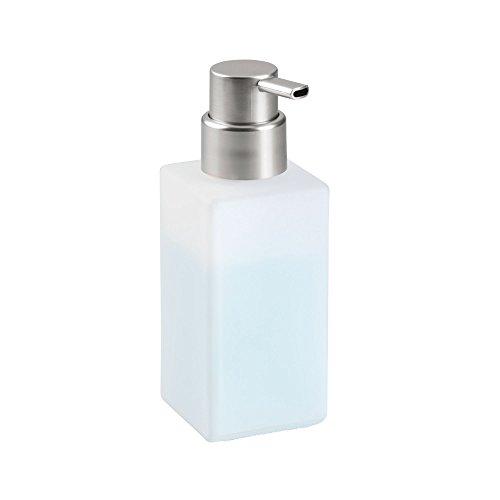 InterDesign Casilla Modern Glass Foaming Soap Dispenser Pump for Kitchen, Bathroom Vanities - Frost/Brushed, 1-Piece
