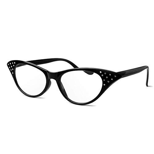 GEMSeven Frauen feste Leopard Cat Eye Rahmen Lesebrille Harz Kristall Strass Dekoration Lesebrille