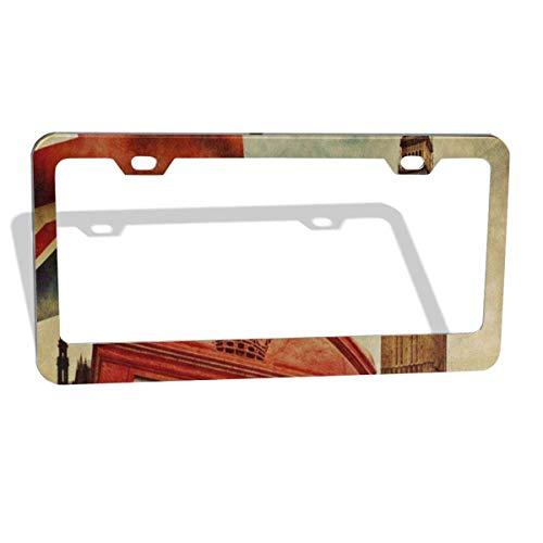 FunnyCustom License Plate Frame Vintage Big Ben Union Jack Red Telephone House Amazing Aluminum License Plate Set Metal Tag Holder 12 x 6 Inch 2 Packs -