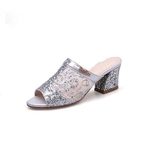 pengweiCiabatte in pelle d'epoca casual ruvide con i sandali traspiranti del filato netto Silver