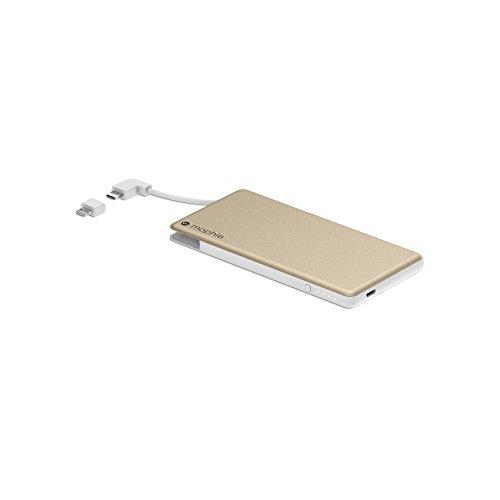 Mophie Powerstation Plus Mini - Batería Externa Universal de 4000 mAh con Cable Integrado Interruptor-Punta, Color Oro