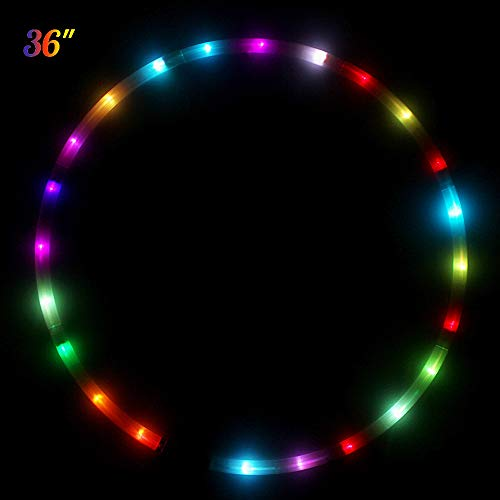 LED Hula Hoop Reifen Fitness Erwachsene 1,3KG Tanz & Fitness Glow Light Up Hula Hoops, 24 Farbe Strobing Changing, 8 Abschnitt abnehmbares Design, tragbare Hula Hoops 36
