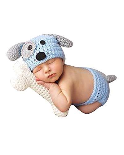 Neugeborenen Fotoshooting Kostüm Junge Mädchen Mützen Fotographie Prop Crochet Geschenk Baby Kleidung Neuborn Blau - Baby Geburt Kostüm