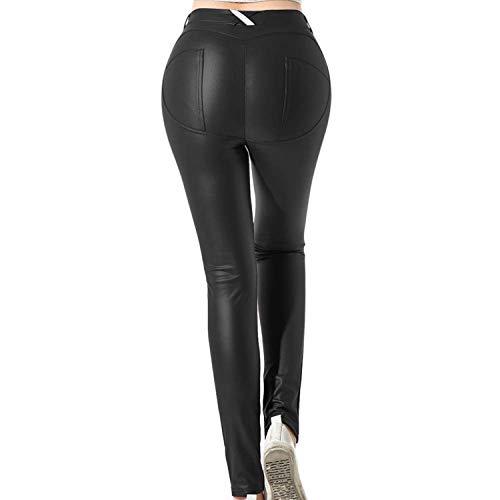 Uni-Wert Leggins Cuero Pantalón Elástico Negro para Mujer
