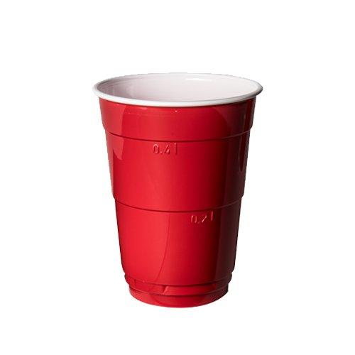 10 Partybecher REDCUPS / BIERBECHER mit Füllstriche 0,2 l und 0,4 l - extra stark, rot - Der Trinkbecher ist bekannt aus vielen US-amerikanischen Fernsehserien und Filmen. (160 St Trinkbecher)