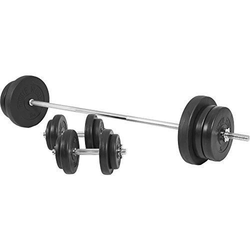GORILLA SPORTS® Langhantel-Set 70 kg Kunststoff mit Langhantelstange, Kurzhanteln, Gewichten und Sternverschlüssen (Langhantel-und Kurzhantel-set)