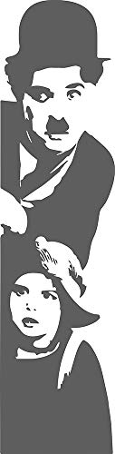 CW - Charlie Chaplin Adesivo Murale, colore Grigio Scuro Opaco - ATTACCO A SINISTRA - misura 45 cm X 175 cm - PVC - MADE ITALIA