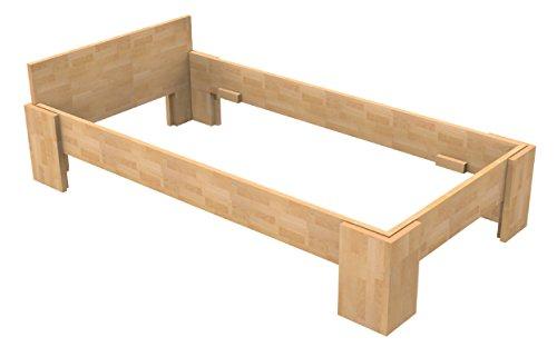 Baßner Holzbau 18mm Echtholzbett Massivholzbett Buche 100×200 Fuß I 40cm Rahmenhöhe