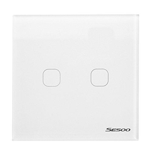 LaDicha Sesoo Sy6-02-D EU/UK Estándar 2 Gang 1 Way Rf433 Remoto Smart  Switch De Pared Interruptores De Control Remoto Inalámbrico Trabajar con