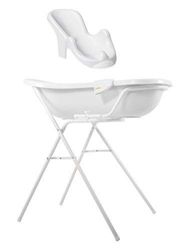Baby Bath Tub XXL 100 cm +Stand +Bathtub Seat White + Wash Mitt