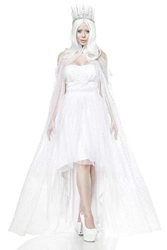 Unbekannt Damen langes Fantasy Kostüm Weiße-königin Verkleidung aus Kleid, Umhang, Rückenfrei und Mehrschichtig in weiß EIS Krone Kostüm L-XL (Weiße Königin Kostüm)