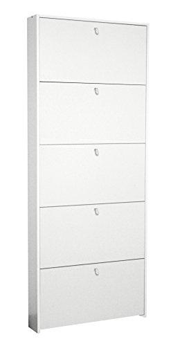 Valentini eco scarpiera 5 ribalte, legno, 15 x 67 x 164 cm, bianco