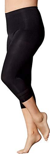Golden Lutz Damen Capri-Leggings, figurformend ++ Plus Size ++ (schwarz mit Streifen-Einstrickung, Gr. L 44/46) | ESMARA Lingerie - Plus Size Capri-leggings