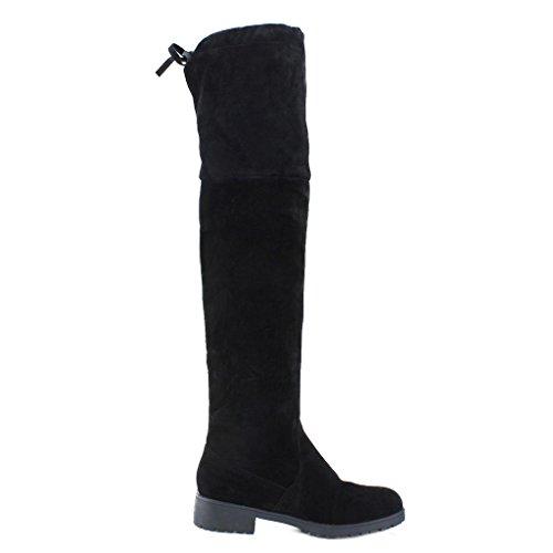 Bottes Hautes Bottes Longues - Juleya Élégant Classique Femme Automne Hiver Bottes Haut Au-dessus Du Genou Chaussures Plates Noir