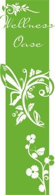 Preisvergleich Produktbild Wandtattoo Türaufkleber Türbanner für Badezimmer Spruch Wellness Oase Blumen (200x57cm//063 lindgrün)