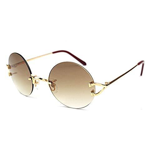 LKVNHP Neue Hochwertige Retro Runde Sonnenbrille Männer Sonnenbrille Rahmen Für Frauen Hochwertige Trendy Shades Oculos De Sol Carter BrilleBraun Objektiv