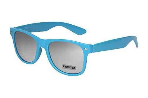 X-CRUZE® 8-026 Nerd Sonnenbrille Style Stil Retro Vintage Retro Unisex Herren Damen Männer Frauen Brille Nerdbrille - hellblau und silber verspiegelt