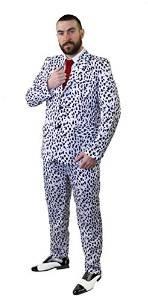 Frauen Halloween Pimp Kostüm - ILOVEFANCYDRESS Unisex Dalmatiner Aufdruck Hosenanzug Cruel-DE-VILL BÖSE Hunde Frau ODER ZUHÄLTER KOSTÜM VERKLEIDUNG MIT Einer ROTEN Krawatte = Halloween Fasching Karneval=XXLarge