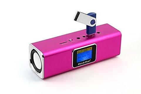 Technaxx MusicMan MA Soundstation Haut-parleur stéréo + lecteur LCD pour Lecteur mp3/iPod/iPhone/micro SD Rose