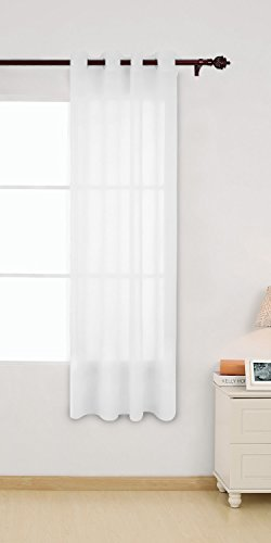 Deconovo Cortina Visillo Gasa Translúcida de Efecto de Lino con Ojales 1 Panel 140 x 180 cm Blanco