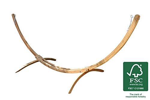 XXL Hängemattengestell (FSC© 100%) wetterfestes Holz Lärche verzinkter Beschlag für KingSize Hängematten 420 x 167 x 160 - Die Brasilianische Holz-möbel
