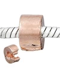 """Andante-Stones - 925 cuenta de plata Bead Clip Stopper """"Melocotón"""", elemento bola para cuentas European Beads + saco de organza"""