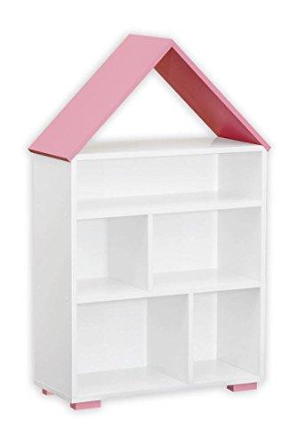 Kinderzimmer - Bücherregal Daniel 01, Farbe: Weiß / Rosa - 117 x 83 x 30 cm (H x B x T) ('h Bücherregal)