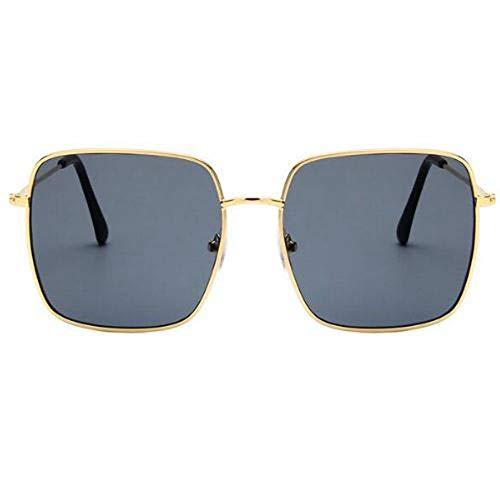 QDE Sonnenbrillen Vintage-Sonnenbrillen Mit Eckigem Rahmen Frauen Übergroße Große Sonnenbrillen Für Männer Frauen Shades Gold Grau Uv400 Eyewear, C.