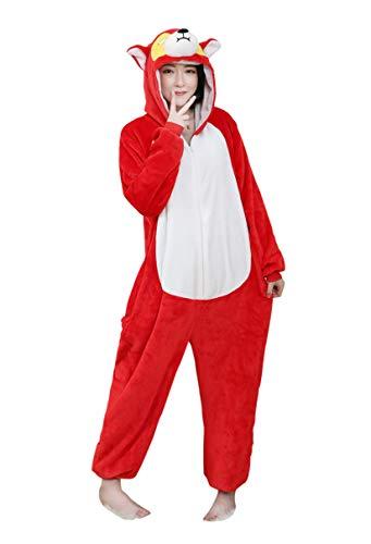Schaf Weibliches Kostüm - URVIP Neu Unisex Adult Pyjama Cosplay Tier Onesie Body Nachtwäsche Kleid Overall Animal Sleepwear Schlafanzug mit Kapuze Erwachsene Cosplay Kostüm Rot-AFFE S