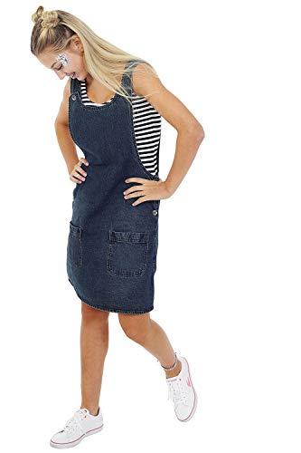 Uskees Kurzes Pinafore-Kleid aus Denim - Vintage wash Jeans-Latzkleid Trägerklei RENEEVW-14
