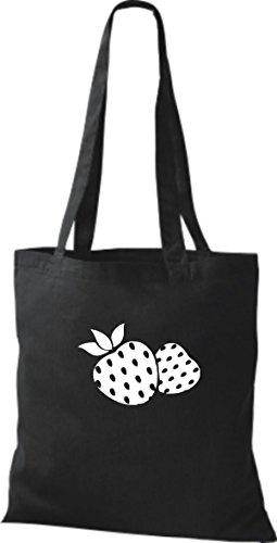 ShirtInStyle Stoffbeutel Baumwolltasche Dein Lieblings Obst und Gemüse Erdbeere Farbe Pink schwarz