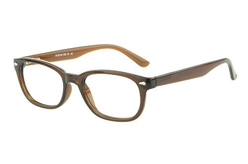 Edison & King Moderne Brille im angesagten Nerd-Stil - inklusive Kunstederetui Stärken (Braun, 3,00 dpt)