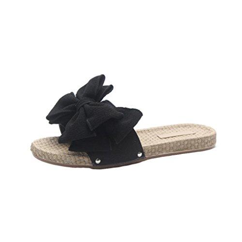 Sandali estivi eleganti da donna,sonnena fiocco estivo a tinta unita con infradito scarpe da spiaggia ciabatte sandali estivi da donna flip-flop slipper scarpe da spiaggia (nero, eu 37)