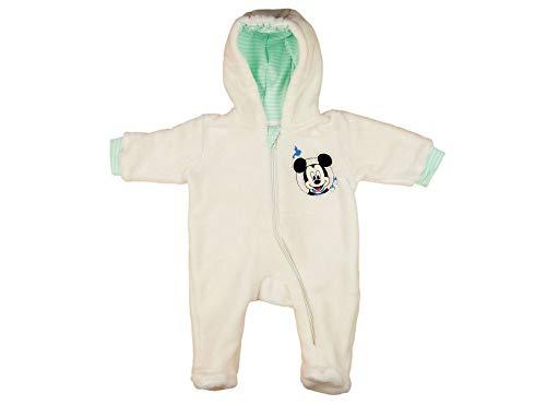 Disney Mickey Mouse Kuschel-Overall Fleece-Overall für Baby Junge Overall mit Kapuze WARM Gr. 56 62 68 74 80, bestricktem Muster für Herbst und Winter, Strampler-Overall Größe 68 Disney Fleece-sweatshirt