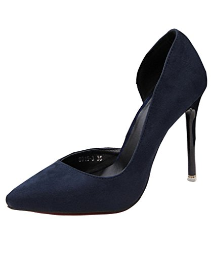 MIneroad Donna Scarpe Col Tacco Stiletto Scamosciato Semplice Elegante Partito Di Sera Sandali Blu EU 36