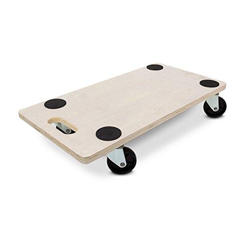Relaxdays Transportroller HBT: 11 x 58 x 30 cm Transportbrett aus Holz mit praktischem Griff Tansporthilfe als Möbelroller und Transportwagen mit Lenkungsrollen Rollbrett bis 200 kg belastbar, natur