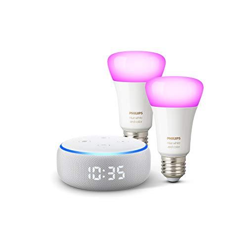 Echo Dot (3.Gen.) - smarter Lautsprecher mit Uhr und Alexa + Philips Hue Color LED-Lampe Doppelpack (E27), kompatibel mit Bluetooth und Zigbee (kein Hub erforderlich)