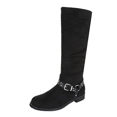 Ital-Design Klassische Stiefel Damen-Schuhe Klassischer Stiefel Blockabsatz Blockabsatz Reißverschluss Stiefel Schwarz, Gr 39, 0-175-