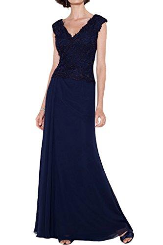 Milano Bride Laessig Chiffon V-Ausschnitt Abendkleider Promkleider Spitze Applikation Faltenwurf Schlitz Bodenlang Dunkelblau